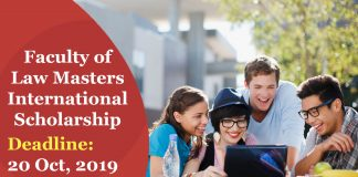 Faculty of Law Masters International Scholarship