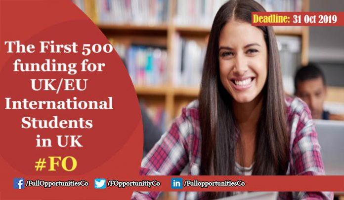 The First 500 funding for UK EU International Students at the University of Kent UK 2019