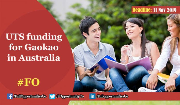 UTS funding for Gaokao Students from the People's Republic of China Australia 2019