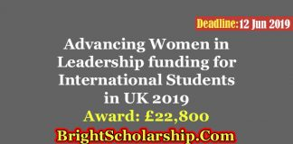 Advancing Women in Leadership funding for International Students in the UK 2019