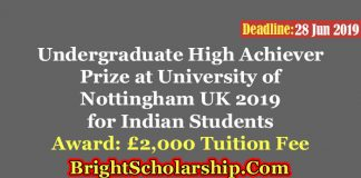 India Undergraduate High Achiever Prize at the University of Nottingham UK 2019