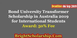 Bond University Transformer Scholarship in Australia 2019