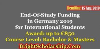 End-Of-Study Funding in Germany 2019