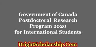Government of Canada Postdoctoral Research Program 2020