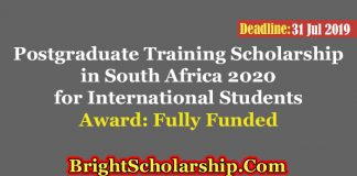 Postgraduate Training Scholarship in South Africa 2020