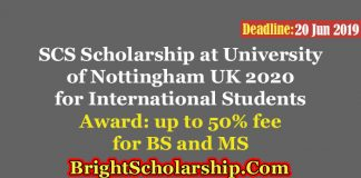 SCS Scholarship at University of Nottingham UK 2020