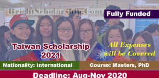 Fully Funded Taiwan Scholarship 2021 for International Students