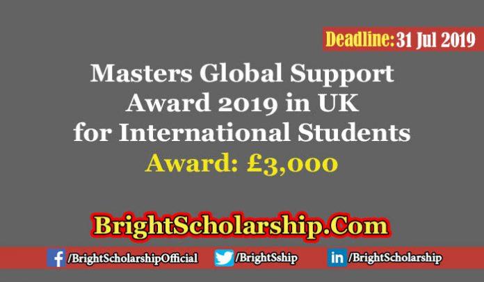 Postgraduate Global Support Funding for International Students 2019