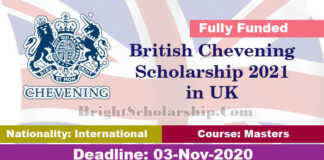 British Chevening Scholarship 2021 in United Kingdom (Fully Funded)