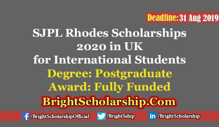 Fully-Funded SJPL Rhodes Scholarships at the University of Oxford in UK 2020