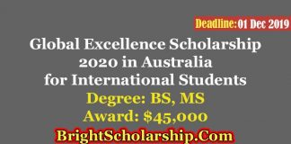 Global Excellence International Scholarship at University of Western in Australia 2020