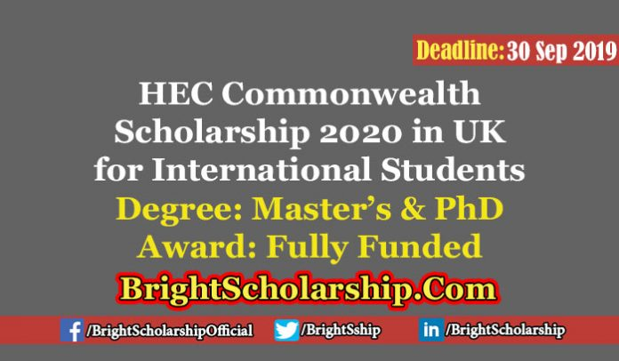 HEC Commonwealth Scholarship 2020 for MS and PhD Students