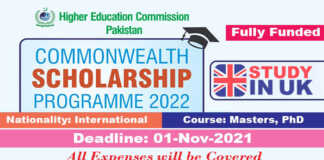 HEC Commonwealth Scholarship 2022 for Masters & PhD (Fully Funded)