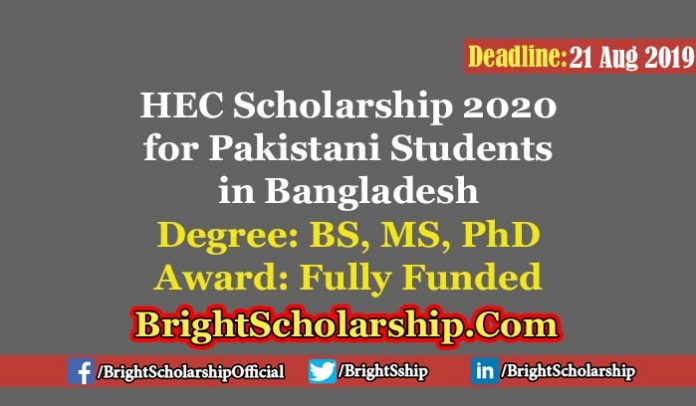 HEC Scholarships For Pakistani Students in Bangladesh 2020