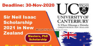 Sir Neil Isaac Scholarship 2021 in New Zealand (Funded)