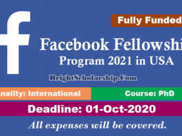 Facebook Fellowship Program 2021 in United States (Fully Funded)