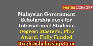 Malaysian Government Scholarship 2019 for International Students