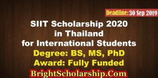 SIIT Scholarship 2020 Thailand For Bachelors, Masters & PhD (Fully Funded)
