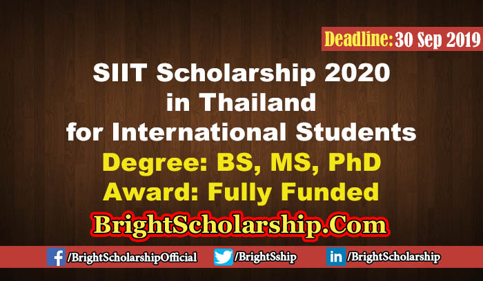 Fully Funded SIIT Scholarship 2020 in Thailand for ...