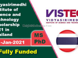 Vidyasirimedhi Institute of Science and Technology Scholarship 2021 in Thailand (Fully Funded)