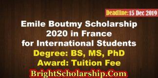 Emile Boutmy Scholarship 2020 for International Students