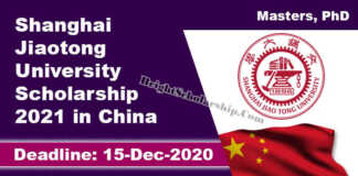 Shanghai Jiaotong University Scholarship 2021 in China (Fully Funded)