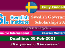 Swedish Institute Scholarships 2021 by Sweden Government (Fully Funded)
