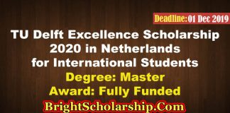 TU Delft Excellence Scholarship 2020 in Netherlands (Fully Funded)