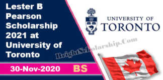 University of Toronto Scholarship 2021 in Canada – Lester B Pearson Scholarship