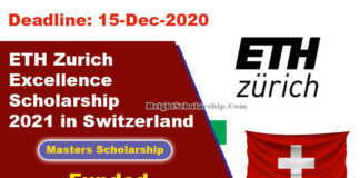 ETH Zurich Excellence Scholarship 2021 in Switzerland (Funded)