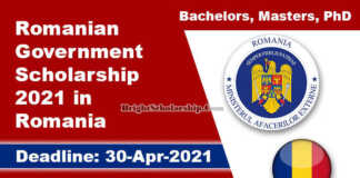 Romanian Government Scholarship 2021 in Romania (Fully Funded)