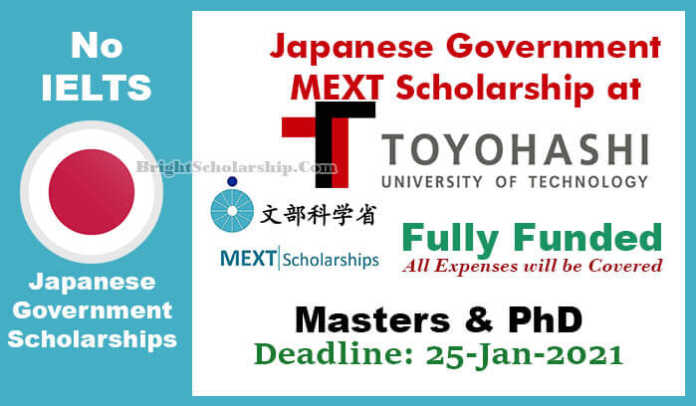 Toyohashi University of Technology MEXT Scholarship 2021 in Japan (Fully Funded)
