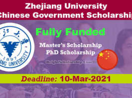 Zhejiang University CSC Scholarship 2021 in China (Fully Funded)
