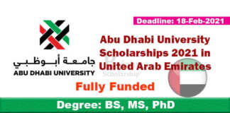 Abu Dhabi University Scholarships 2021 in UAE (Fully Funded)