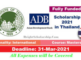 Asian Development Bank Scholarship 2021 in Thailand (Fully Funded)