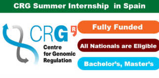 CRG Summer Internship Program 2020 in Spain (Fully Funded)