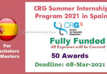 CRG Summer Internship Program 2021 in Spain (Fully Funded)