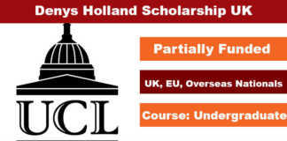 Denys Holland Undergraduate Scholarship 2020 in UK