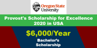 Provost's Scholarship for Excellence 2020 in USA