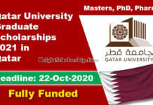 Qatar University Graduate Scholarships 2021 (Fully Funded)