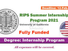 RIPS Summer Internship Program 2021 in United States (Fully Funded)