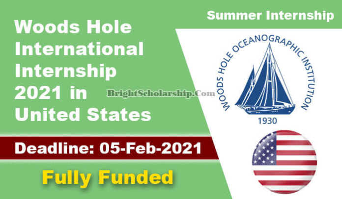 Woods Hole Internship 2021 in United States (Fully Funded)