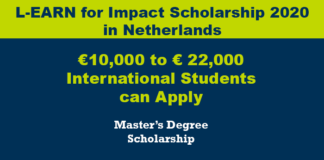 L-EARN for Impact Scholarship 2020 in Netherlands