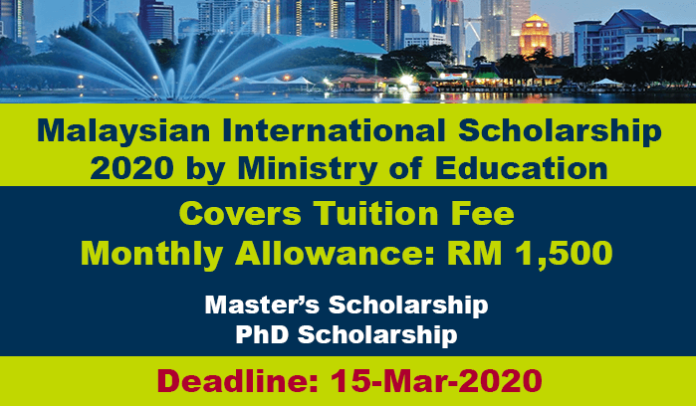 Malaysian International Scholarship 2020 for MS & PhD