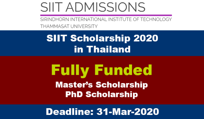 SIIT Scholarship 2020 in Thailand (Fully Funded)