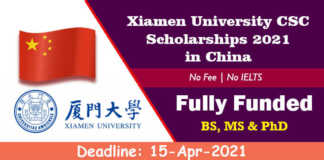 Xiamen University CSC Scholarships 2021 in China (Fully Funded)