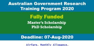 Australian Government Research Training Program 2020 (Fully Funded)