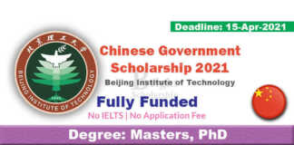 Beijing Institute of Technology Scholarship 2021 in China (Fully Funded)
