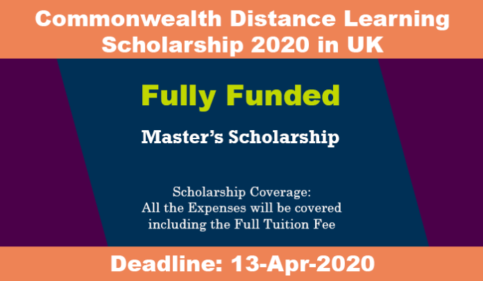 Commonwealth Distance Learning Scholarship 2020 in UK