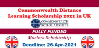 Commonwealth Distance Learning Scholarship 2021 in UK (Fully Funded)